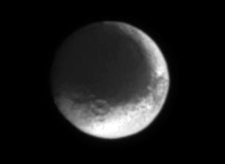 A new image taken of Iapetus, a moon of Saturn, by the Cassini spacecraft on July 3.