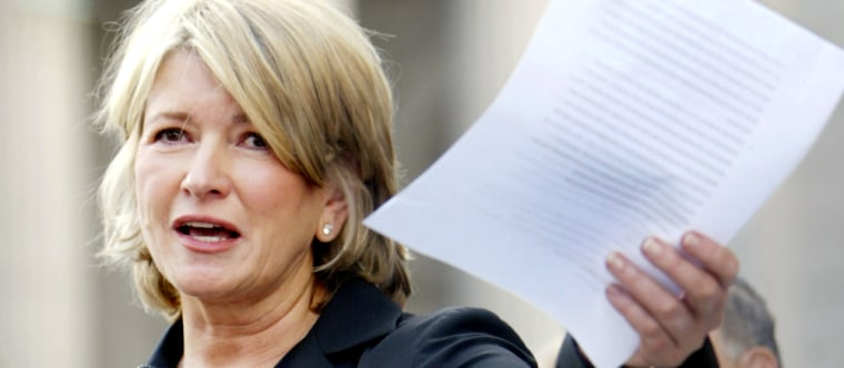 Martha Stewart reads a statement outside Manhattan federal court Friday after she was sentenced to five months in prison.