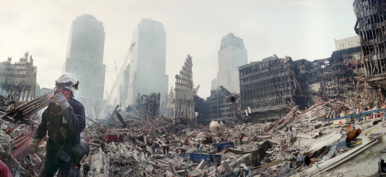 Rescue workers combed through the rubble of the World Trade Center in New York for months after the attacks.