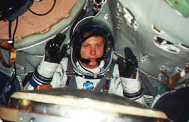 St. Petersburg millionaire Sergei Polonsky wears a practice spacesuit during Soyuz training in Russia. Polonsky has undergone training for a trip to the international space station, but sources say his bid has been rejected.