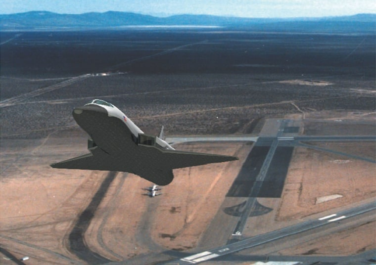Rocketplane's XP vehicle, shown in this artist's conception, would take off like a jet airplane, then turn on its rocket engine for the ascent to space. Revisions in proposed legislation would be aimed at ensuring that such vehicles are classified as suborbital rocket vehicles.