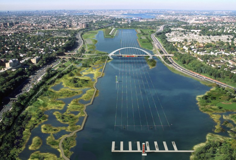 New York City officials propose combining two existing lakes to create a flatwater rowing facility for the 2012 summer Olympics. The site in Flushing Meadows, Queens, is shown here in arendering