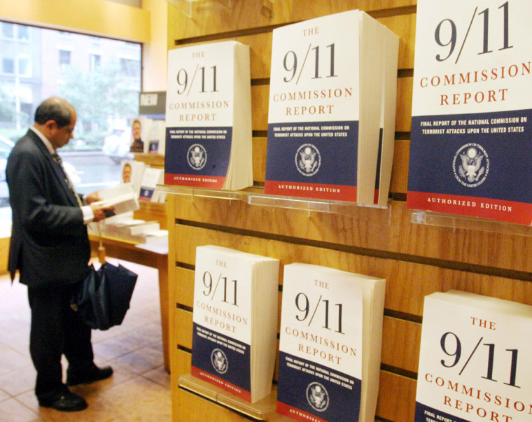 Copies of 'The 9/11 Commission Report' are seen on display at a Borders bookstore in New York onFriday.
