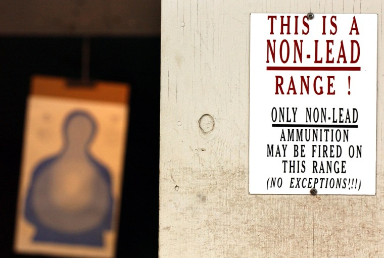 This sign greets users of the Federal Law Enforcement Training Center weapon range in Glynco, Ga. The center has adopted unleaded bullets at its four ranges.