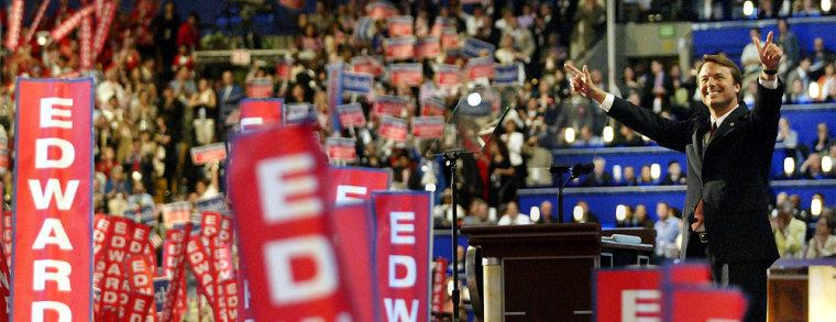 Vice presidential candidate Edwards cheered at the Democratic Convention