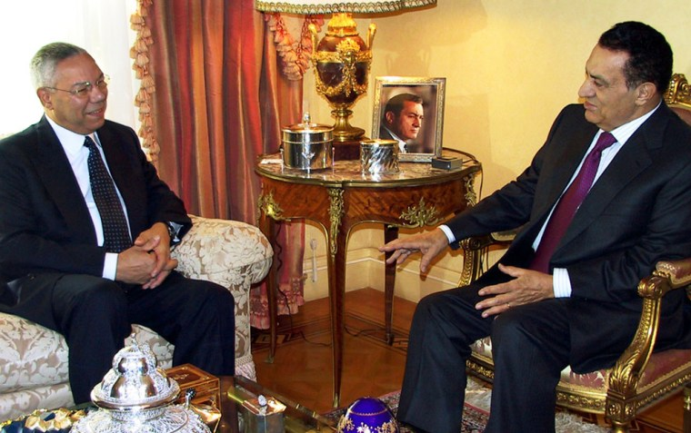 Egypt's President Hosni Mubarak, right,talks with U.S. Secretary of State Colin Powell during a meeting in Cairo, Egypt, on Wednesday.