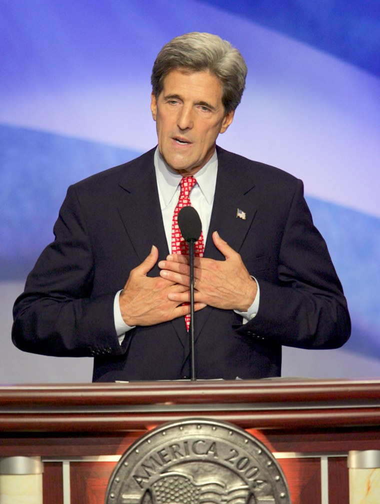 Democratic presidential candidate Sen. John Kerry gestures during his address to  the delegates at the Democratic National Convention in Boston, Thursday, July 29, 2004. (AP Photo/Ron Edmonds)