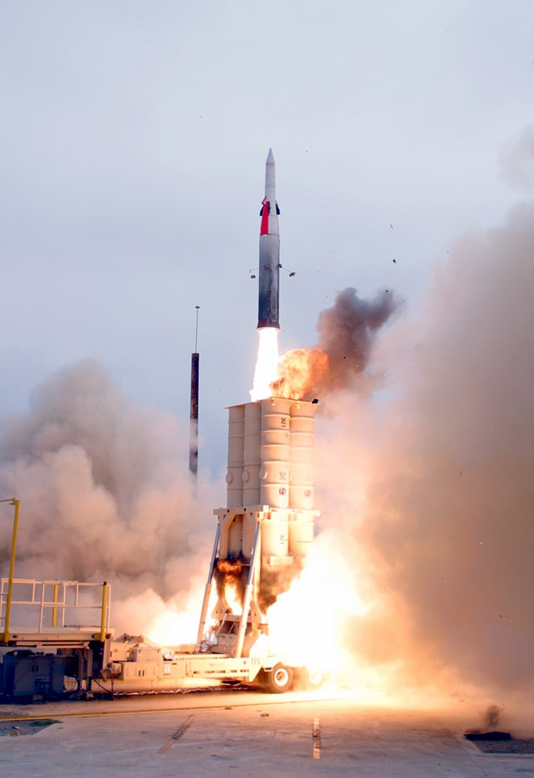 An anti-ballistic missile lifts off Thursday from Point Mugu Sea Range, off the California coast, as a test of an improved version of the Arrow missile.