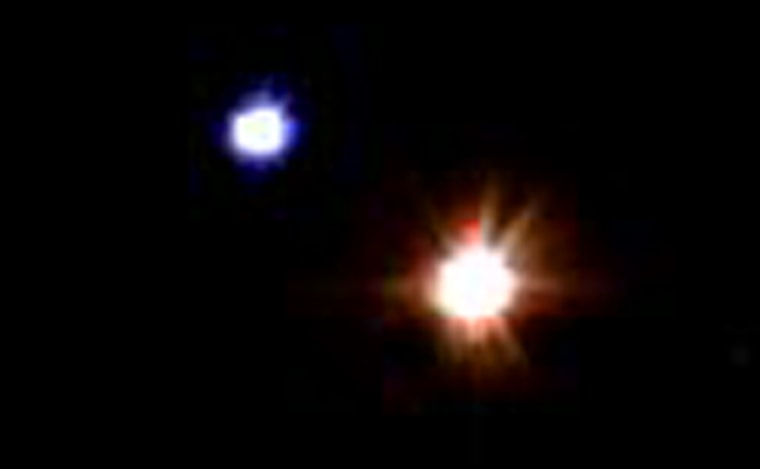 This image of Albireo, an apparent binary system with an orange and a blue star, was captured with the Katzman Automatic Imaging Telescope.