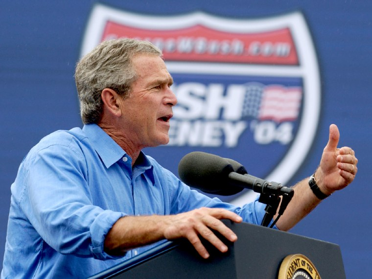 US President George W. Bush speaks to a crowd at a campaign stop in Cambridge, Ohio