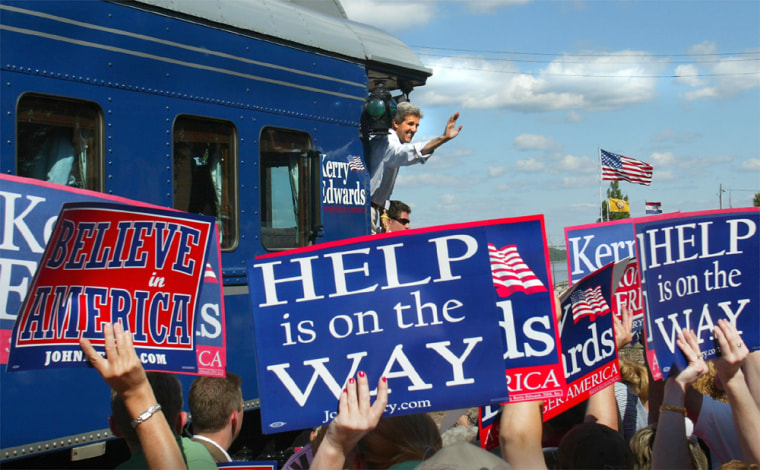 John Kerry waves from back of campaign train as it arrives in Washington Missouri