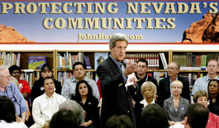 John Kerry speaks about Yucca Mountain during campaign stop in Las Vegas