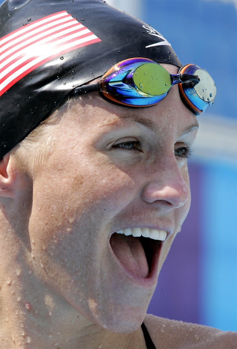 Jenny Thompson of the U.S. smiles during practice at the 2004 Olympic Games in Athens, Friday, Aug. 13, 2004.  (AP Photo/Mark J. Terrill)