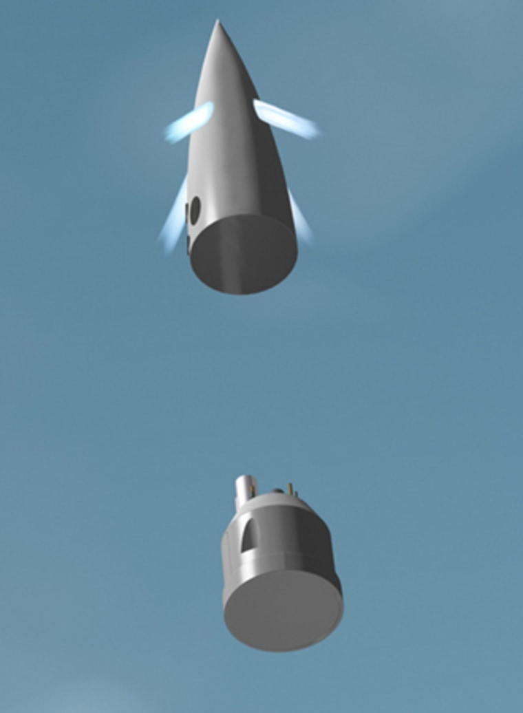 In this artist's depiction of a future Canadian Arrow flight, the crew cabin separates from the nosecone shroud just before rocket engine burnout.