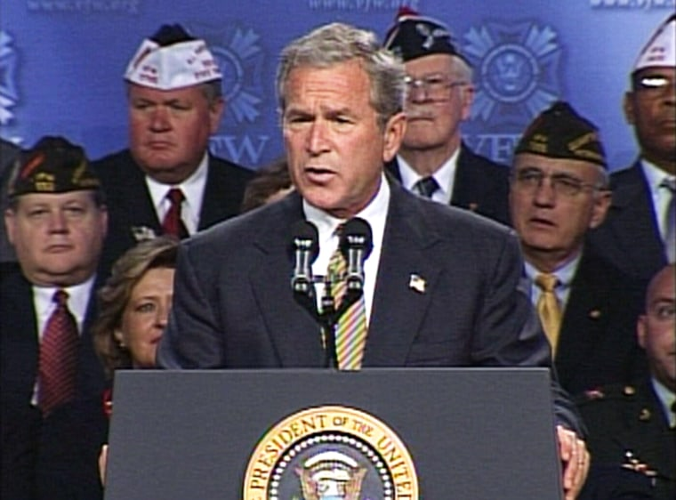 President Bush announces a major U.S. troop realignment in an address to the Veterans of Foreign Wars convention in Cincinnati.