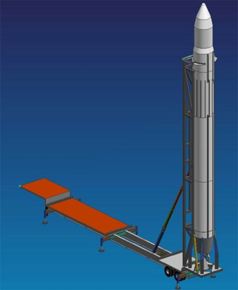 The Falcon 1 rocket stands on its mobile launcher in this artist's conception. The first liftoff could take place this autumn from California.