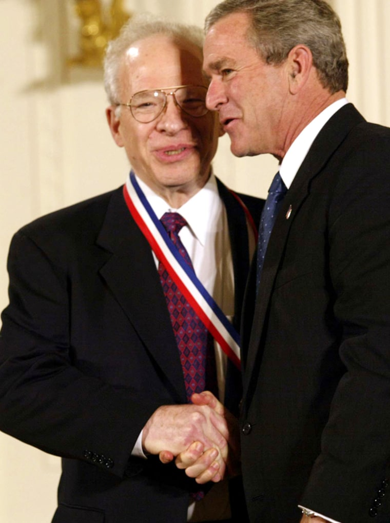 Physicist Richard Garwin receives the National Medal of Science from President Bush in November 2003. Months later, Garwin joined with other prominent scientists in signing a statement decrying Bush'shandling of scientific issues.