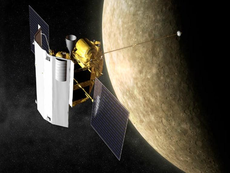An artist's conception shows Messenger monitoring Mercury.