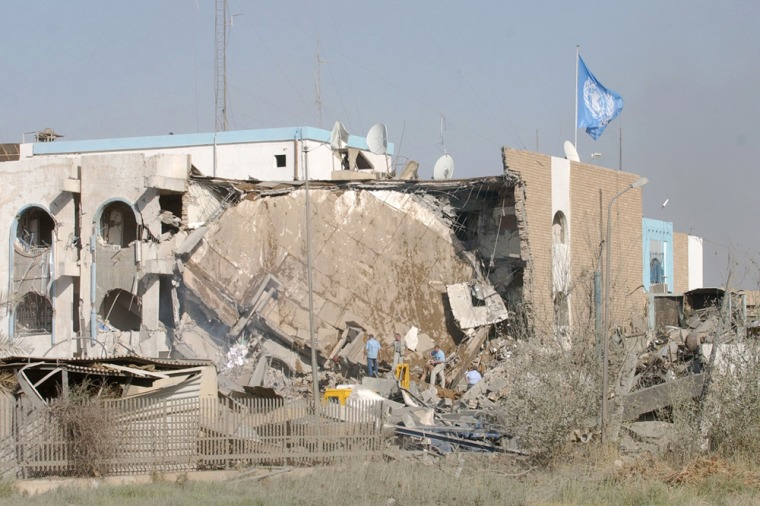 This Aug. 19, 2003, file photo shows theaftermath of the suicide truck bombing that devastated U.N. headquarters inBaghdad.