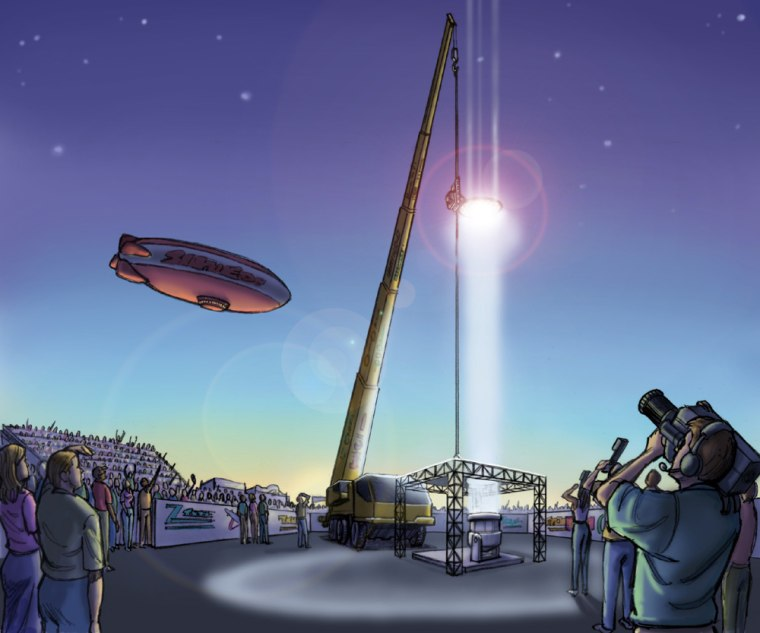 One of the marquee events in a proposed space elevator competition would be a climber race, shown in this artist's conception. The mechanical climbers would be required to lift a payload up a 50-meter cable, with power providedby an intense light beam shining on photoelectric cells.