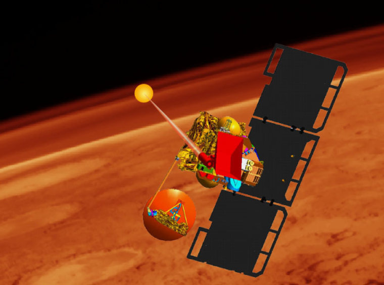 NASA's Mars Volcanic Emission and Life Scout, an orbiter shown in this artist's conception, could detect traces of localized methane in the Martian atmosphere.