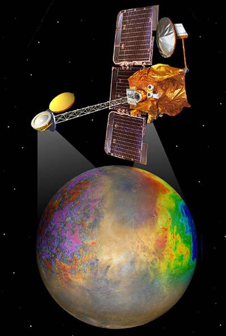 An artist's conception shows the Mars Odysseyorbiter and the types of imagery sent back by the probe.
