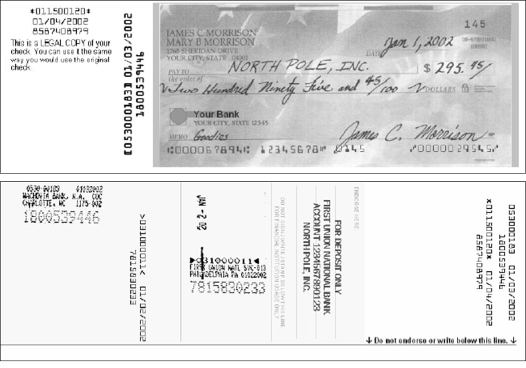 "Beginning Oct. 28, consumers will receive ""substitute"" checks like this one instead of canceled checks from their banks."