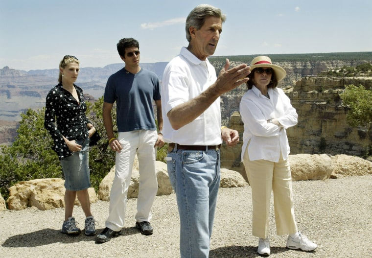 John Kerry speaks to members of media from South rim of Grand Canyon in Arizona