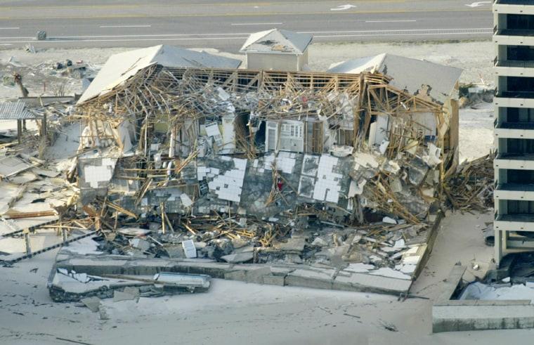 Building damaged by Hurricane Ivan in Pensacola Beach, Florida