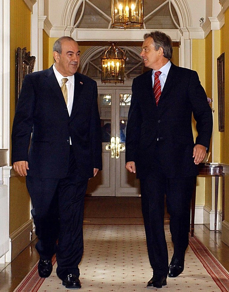 Britain's Prime Minister Tony Blair, right, with Ayad Allawi, interim Prime Minister of Iraq, inside 10 Downing Street in London, Sunday.