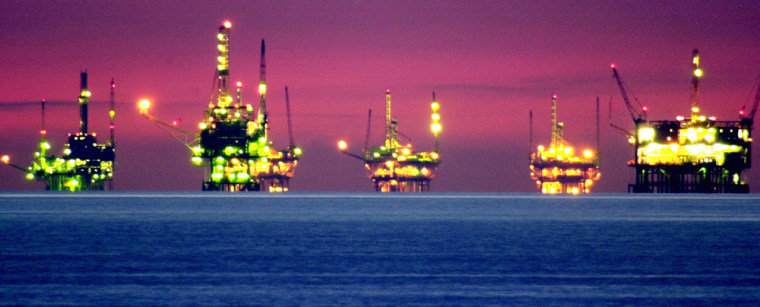 Night comes to oil and natural gas platforms off Santa Barbara, Calif.