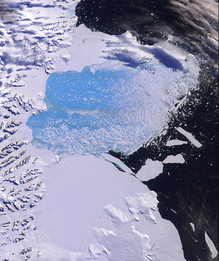 The Larsen B ice shelf on Antarctica is seen during its breakup in February and March of2002. Scientists worry that collapsing ice shelves will allow ice sheets trapped on the continent to flow into the sea, raising levels worldwide.