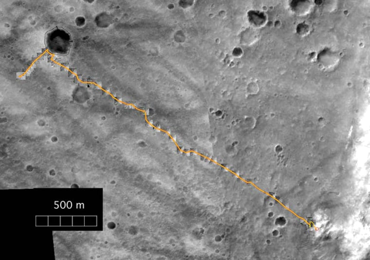 Orbital imagery of the Martian surface traces the Spirit rover's path to the Columbia Hills as an orange line. Spirit and its twin, Opportunity, began their treks in January on opposite sides of the planet and could conceivably keep going for more than a year.