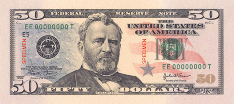 The $50 bill is the third note to undergo color treatment in an attempt to thwart counterfeiters.