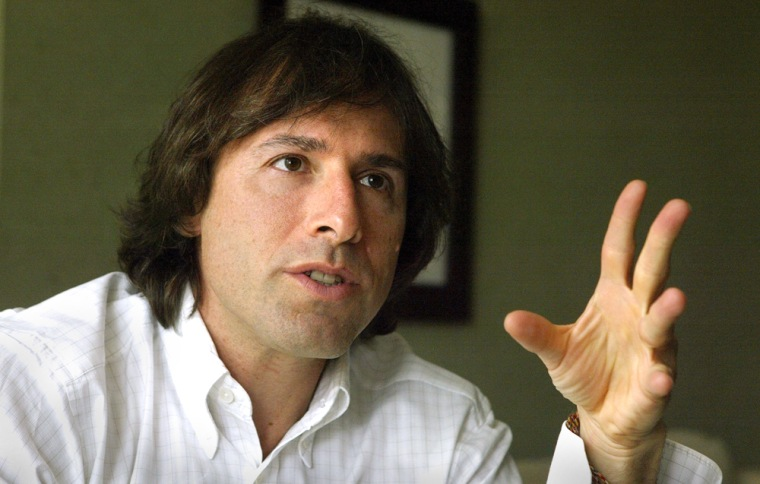 """Director David O. Russell gestures during an interview Sept. 16, 2004 in Washington. Russell's new movie called """"I (Heart) Huckabees"""" stars Lily Tomlin, Dustin Hoffman and Jason Schwartzman.  (AP Photo/Evan Vucci)"""