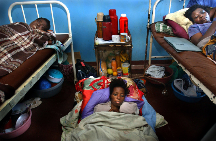 Among the crises facing the next president is the HIV/AIDS pandemic, so serious it is also considered a security issue.These women suffering from from the illness crowd into a room at Queen Elizabeth Hospital Blantyre, Malawi, in July.