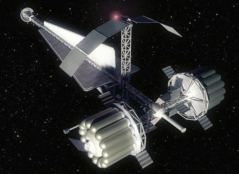 An artist's conception shows a spacecraft that could be used for the Human Outer Planets Exploration mission to Callisto, one of Jupiter's moons. NASA figures the trip would take five years. Such a mission could use human hibernation technology, although NASA says that isn't currently under consideration.