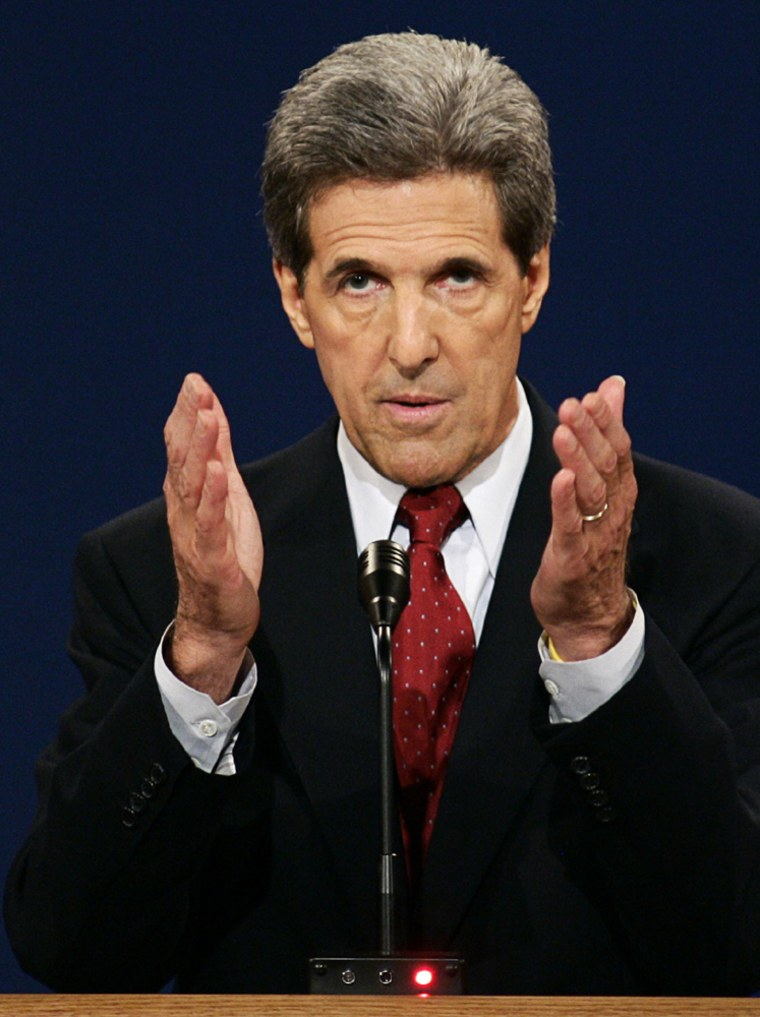 John Kerry makes a point during presidential Debate in Tempe