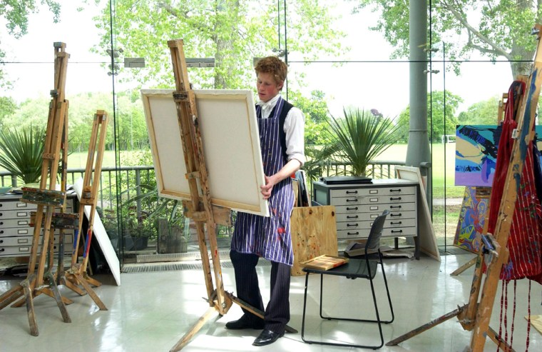 Prince Harry, the younger son of the Prince of Wales, in the Drawing School at work in the art room at Eton College onJune 7, 2003.
