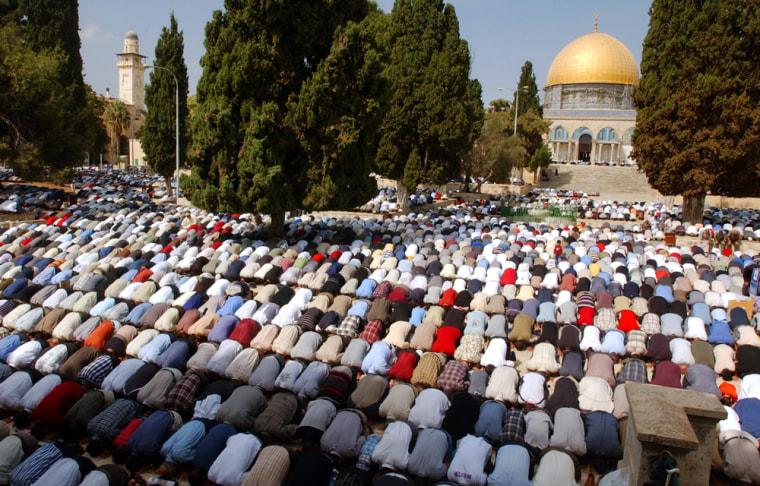 Thousands of Muslim worshippers prayat theAl-Aqsa Mosque compound in Jerusalem's Old City on Friday.