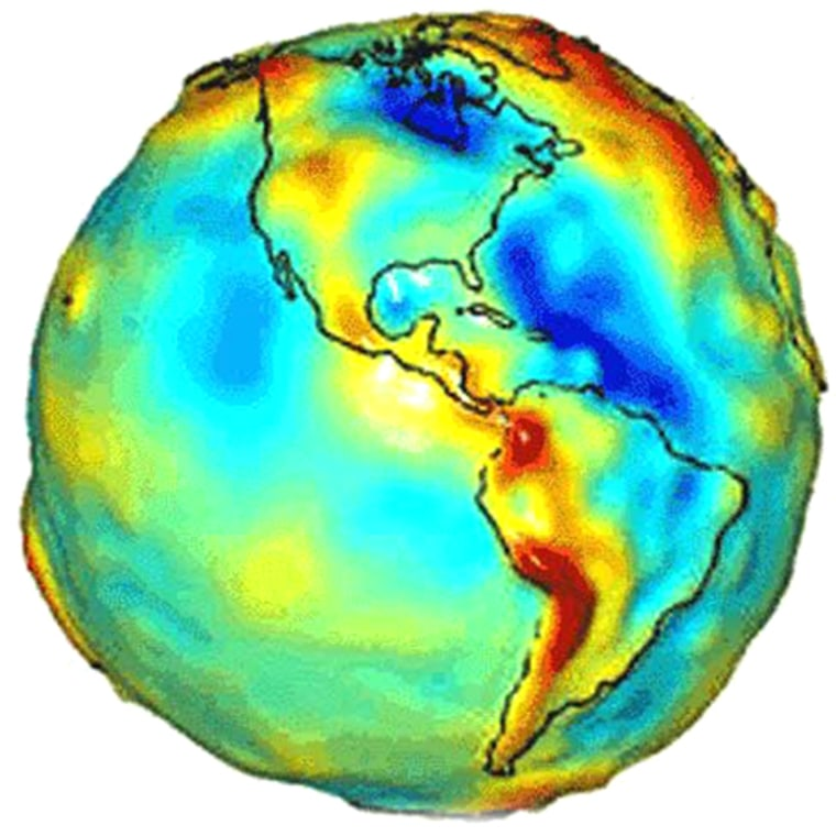 To pin down relativistic frame dragging, researchers included data on Earth's uneven gravity field, shown in this map by NASA's GRACE satellite. Fluctuations owe to mountains, trenches, and unseen subsurface density differences. Red indicates high gravity; blue areas have low gravity.