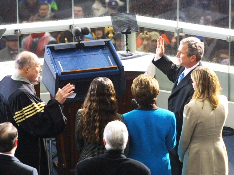 Will it be a reprise on Jan. 20, 2005, or will John Kerry be standing across from Chief Justice Rehnquist?