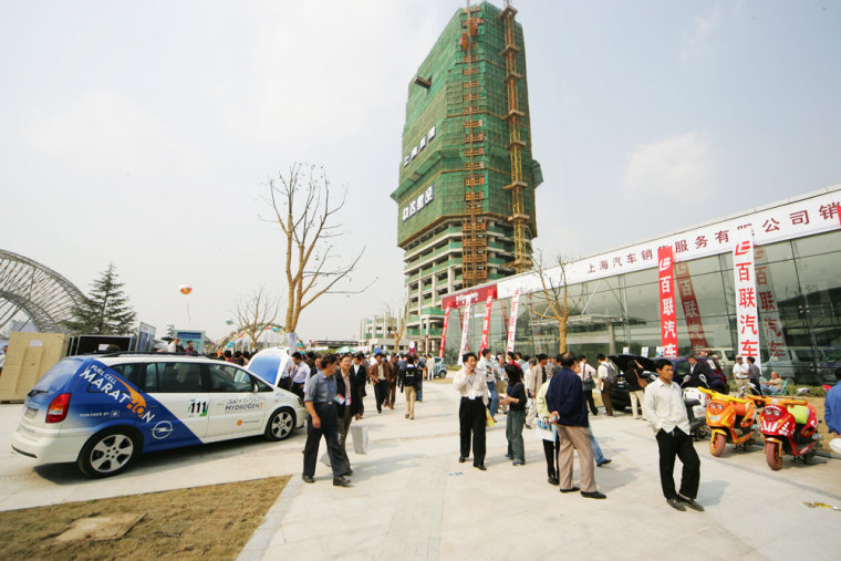 GM's HydroGen3 vehicle, seen at left, will be used in a development project with a Chinese partner. It was among dozens of environmentally friendly vehicles showcased in Shanghai last September.