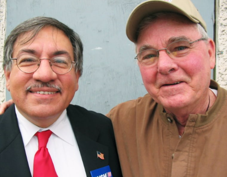 Republican Charlie Spano, left, and Democrat Tom Conway are Election Day regulars at the 606 Social Clubin Scranton, Penn.
