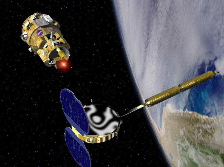 In this artist's conception, the DART flight demonstrator, top left, makes a rendezvous with the military MUBLCOM satellite, bottom right, in orbit.