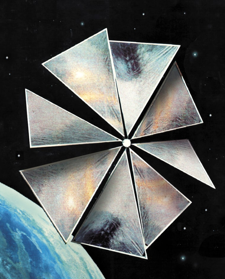 An artist's conception shows the Cosmos 1 solar sail fully unfurled in orbit. The sail is pushed by the pressure of solar radiation on its eight thin panels, and would be visible to the naked eye from Earth.