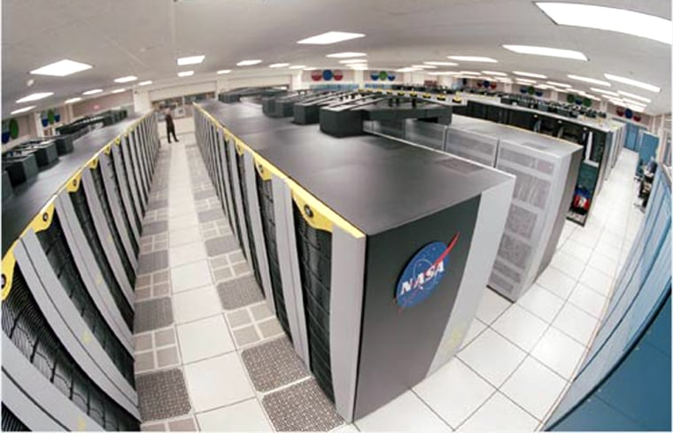A fish-eye view shows the 10,240-processor array behind Project Columbia, NASA's ambitious supercomputer project in Mountain View, Calif.