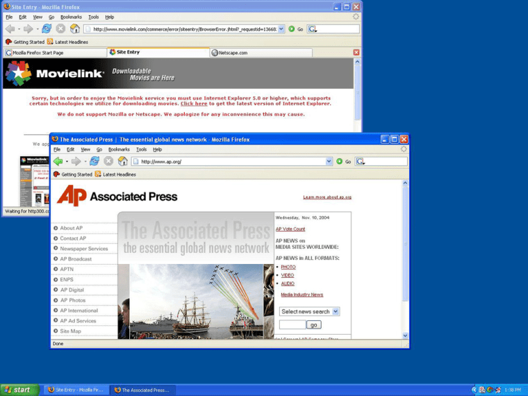 These two pages show different ways Firefox displays multiple pages within windows. The upper window shown here has three open tabs, just below the toolbar, instead of requiring three separate windows.