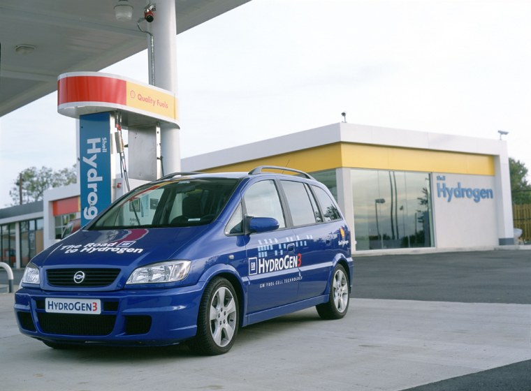 This Shell gas station in Washington, D.C., is the first in North America to include a hydrogen pump, seen herenext to a General Motors fuel cell vehicle.