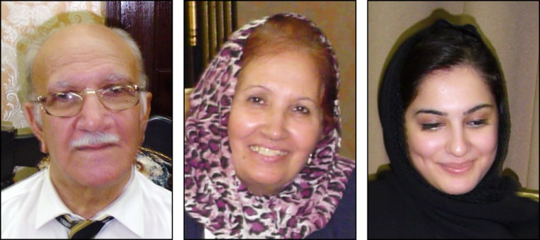 Al Jazeera television has reported that two of the three relatives of Ayad Allawi kidnapped last week have been released. Ghazi Allawi, left; his wife Suaad, center; and their daughter-in-law Wasnaa are pictured in 2003 family photos. The three were kidnappedon Tuesday in Baghdad.